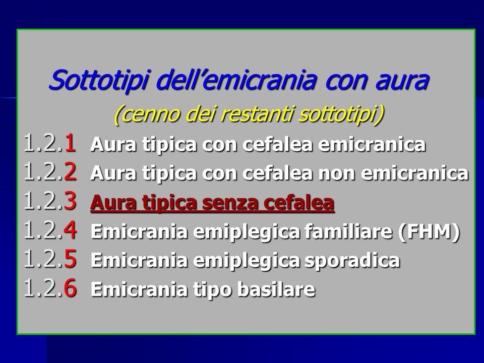 Sottotipi dellemicrania con aura (cenno dei restanti sottotipi) 1.2.1 Aura tipica con cefalea emicranica 1.2.2 Aura tipica con cefalea non emicranica