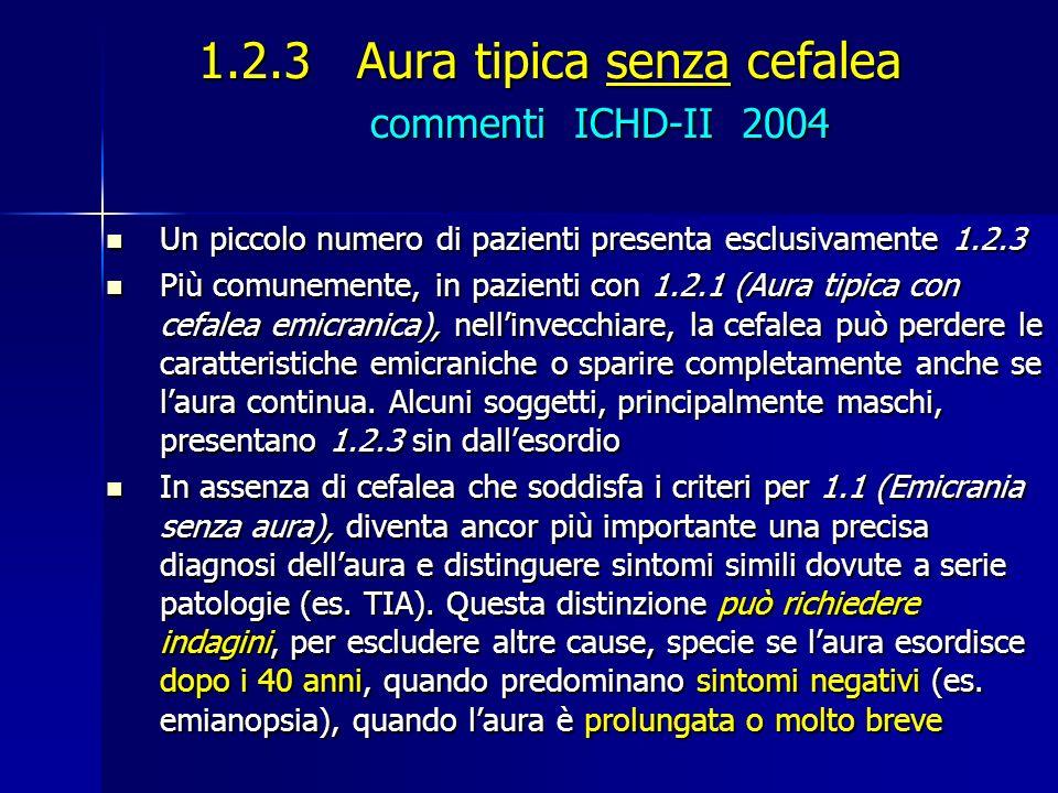 1.2.3 Aura tipica senza cefalea commenti ICHD-II 2004 Un piccolo numero di pazienti presenta esclusivamente 1.2.3 Un piccolo numero di pazienti presen