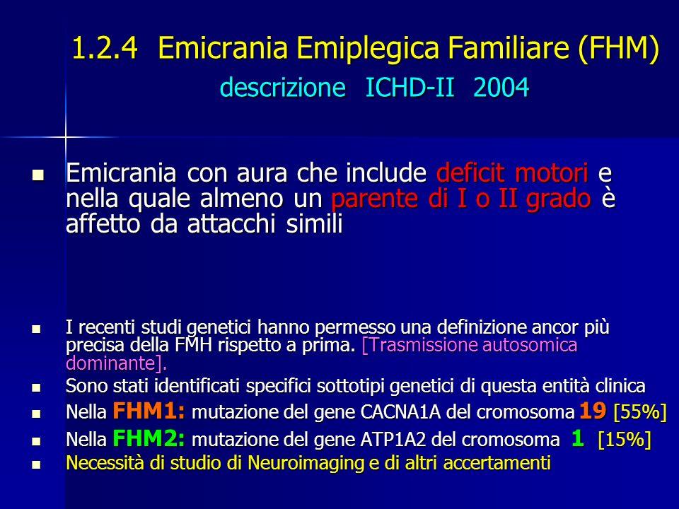 1.2.4 Emicrania Emiplegica Familiare (FHM) descrizione ICHD-II 2004 Emicrania con aura che include deficit motori e nella quale almeno un parente di I