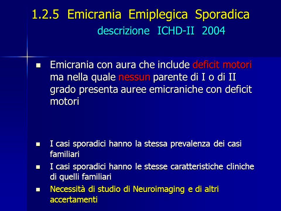 1.2.5 Emicrania Emiplegica Sporadica descrizione ICHD-II 2004 Emicrania con aura che include deficit motori ma nella quale nessun parente di I o di II