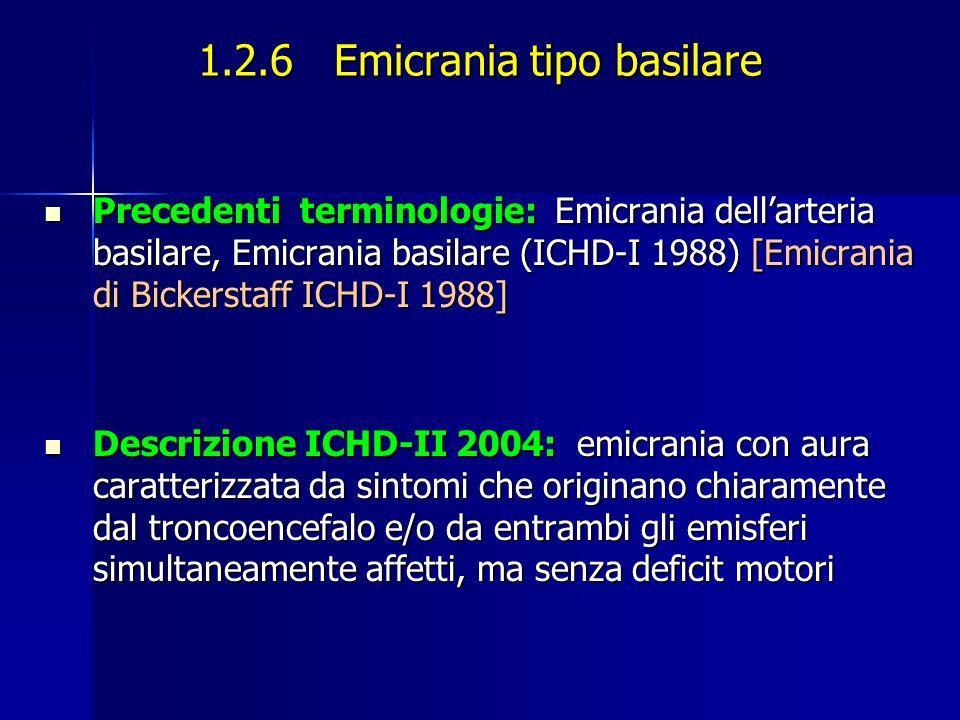 1.2.6 Emicrania tipo basilare Precedenti terminologie: Emicrania dellarteria basilare, Emicrania basilare (ICHD-I 1988) [Emicrania di Bickerstaff ICHD-I 1988] Precedenti terminologie: Emicrania dellarteria basilare, Emicrania basilare (ICHD-I 1988) [Emicrania di Bickerstaff ICHD-I 1988] Descrizione ICHD-II 2004: emicrania con aura caratterizzata da sintomi che originano chiaramente dal troncoencefalo e/o da entrambi gli emisferi simultaneamente affetti, ma senza deficit motori Descrizione ICHD-II 2004: emicrania con aura caratterizzata da sintomi che originano chiaramente dal troncoencefalo e/o da entrambi gli emisferi simultaneamente affetti, ma senza deficit motori
