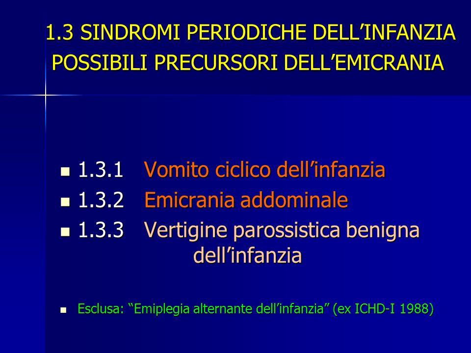 1.3 SINDROMI PERIODICHE DELLINFANZIA POSSIBILI PRECURSORI DELLEMICRANIA 1.3 SINDROMI PERIODICHE DELLINFANZIA POSSIBILI PRECURSORI DELLEMICRANIA 1.3.1