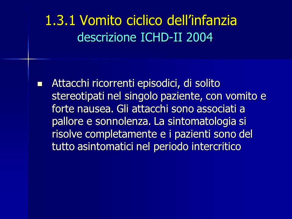 1.3.1 Vomito ciclico dellinfanzia descrizione ICHD-II 2004 Attacchi ricorrenti episodici, di solito stereotipati nel singolo paziente, con vomito e fo