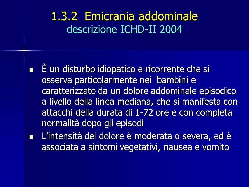 1.3.2 Emicrania addominale descrizione ICHD-II 2004 È un disturbo idiopatico e ricorrente che si osserva particolarmente nei bambini e caratterizzato