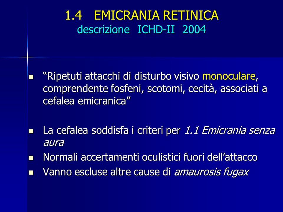 1.4 EMICRANIA RETINICA descrizione ICHD-II 2004 Ripetuti attacchi di disturbo visivo monoculare, comprendente fosfeni, scotomi, cecità, associati a ce