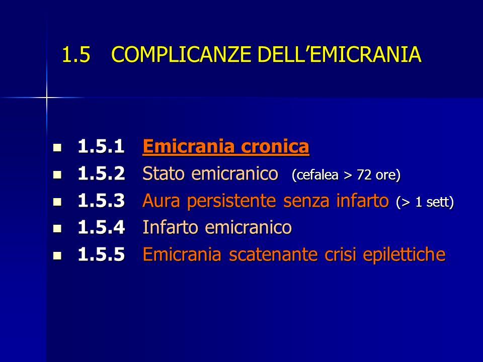 1.5 COMPLICANZE DELLEMICRANIA 1.5.1 Emicrania cronica 1.5.1 Emicrania cronica 1.5.2 Stato emicranico (cefalea > 72 ore) 1.5.2 Stato emicranico (cefale