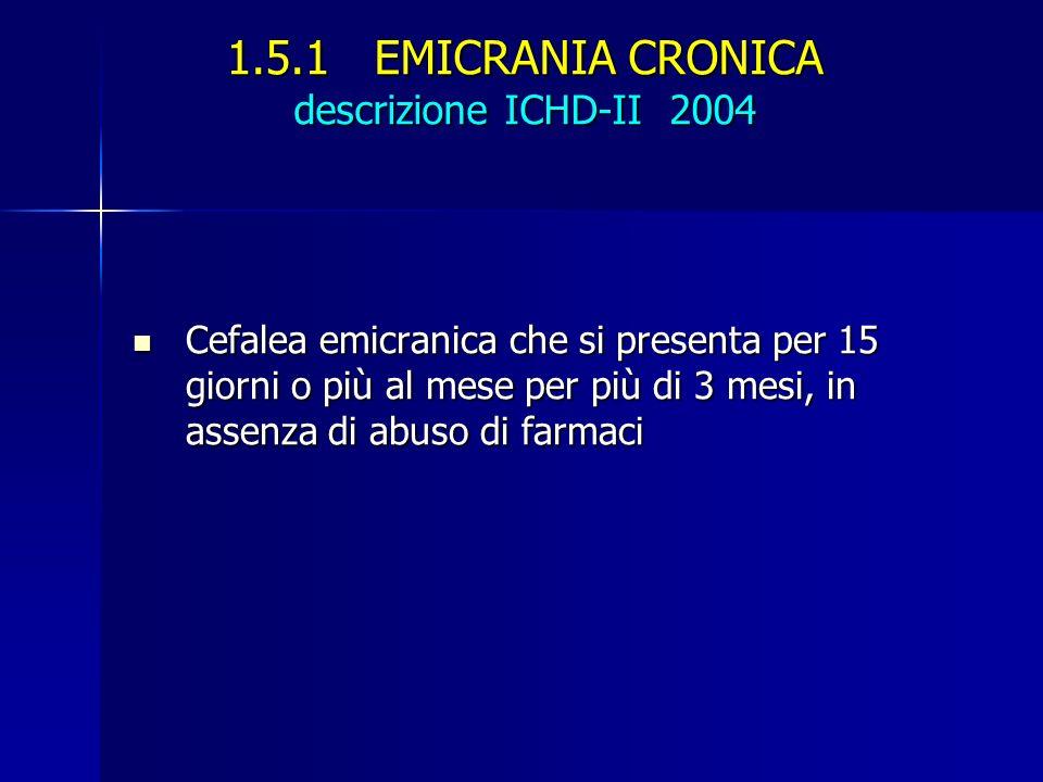 1.5.1 EMICRANIA CRONICA descrizione ICHD-II 2004 Cefalea emicranica che si presenta per 15 giorni o più al mese per più di 3 mesi, in assenza di abuso di farmaci Cefalea emicranica che si presenta per 15 giorni o più al mese per più di 3 mesi, in assenza di abuso di farmaci