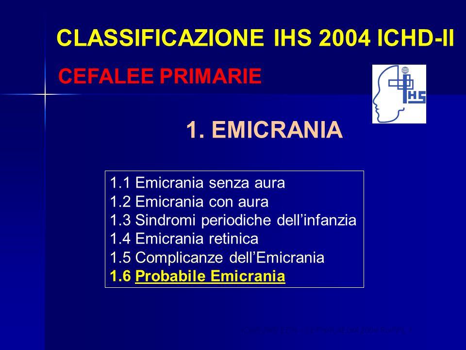 CLASSIFICAZIONE IHS 2004 ICHD-II CEFALEE PRIMARIE 1.