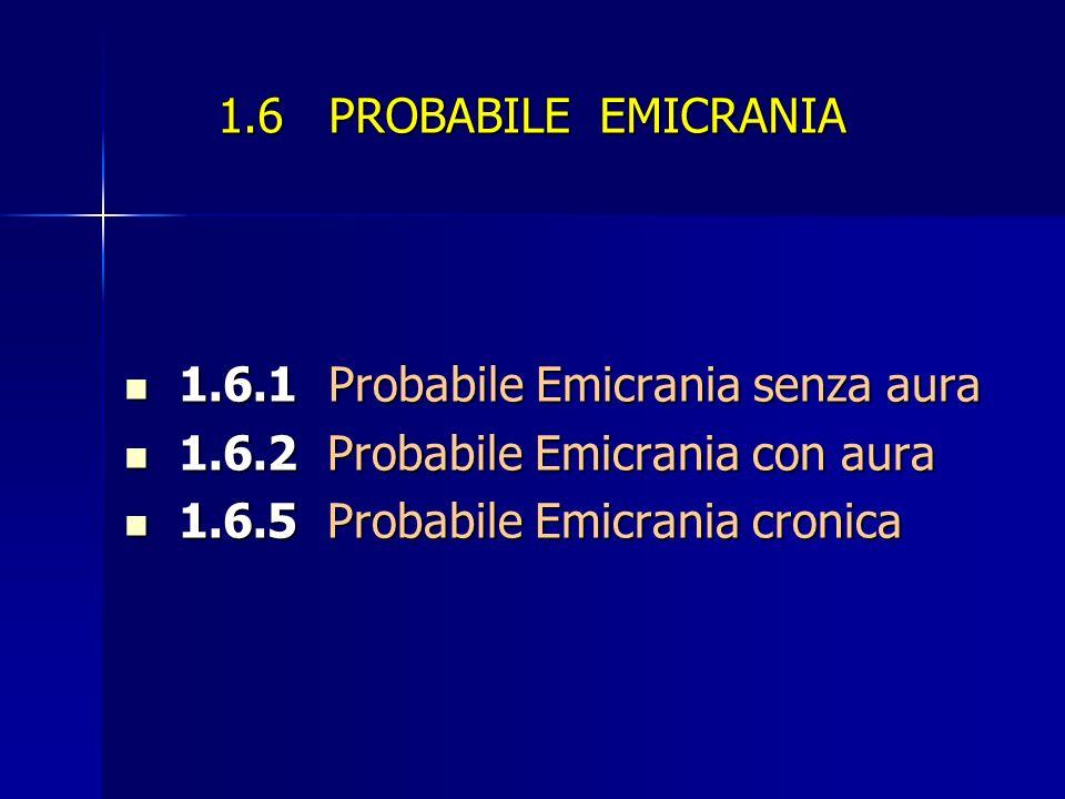 1.6 PROBABILE EMICRANIA 1.6.1 Probabile Emicrania senza aura 1.6.1 Probabile Emicrania senza aura 1.6.2 Probabile Emicrania con aura 1.6.2 Probabile Emicrania con aura 1.6.5 Probabile Emicrania cronica 1.6.5 Probabile Emicrania cronica