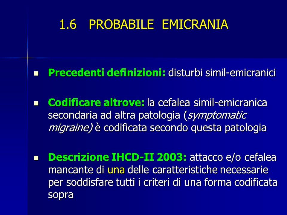 1.6 PROBABILE EMICRANIA Precedenti definizioni: disturbi simil-emicranici Precedenti definizioni: disturbi simil-emicranici Codificare altrove: la cef