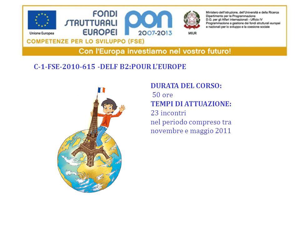 DURATA DEL CORSO: 50 ore TEMPI DI ATTUAZIONE: 23 incontri nel periodo compreso tra novembre e maggio 2011 C-1-FSE-2010-615 -DELF B2:POUR LEUROPE