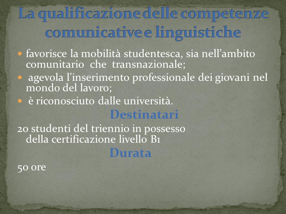 favorisce la mobilità studentesca, sia nellambito comunitario che transnazionale; agevola linserimento professionale dei giovani nel mondo del lavoro; è riconosciuto dalle università.