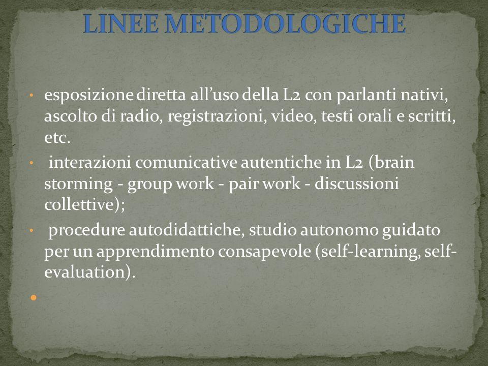 esposizione diretta alluso della L2 con parlanti nativi, ascolto di radio, registrazioni, video, testi orali e scritti, etc. interazioni comunicative