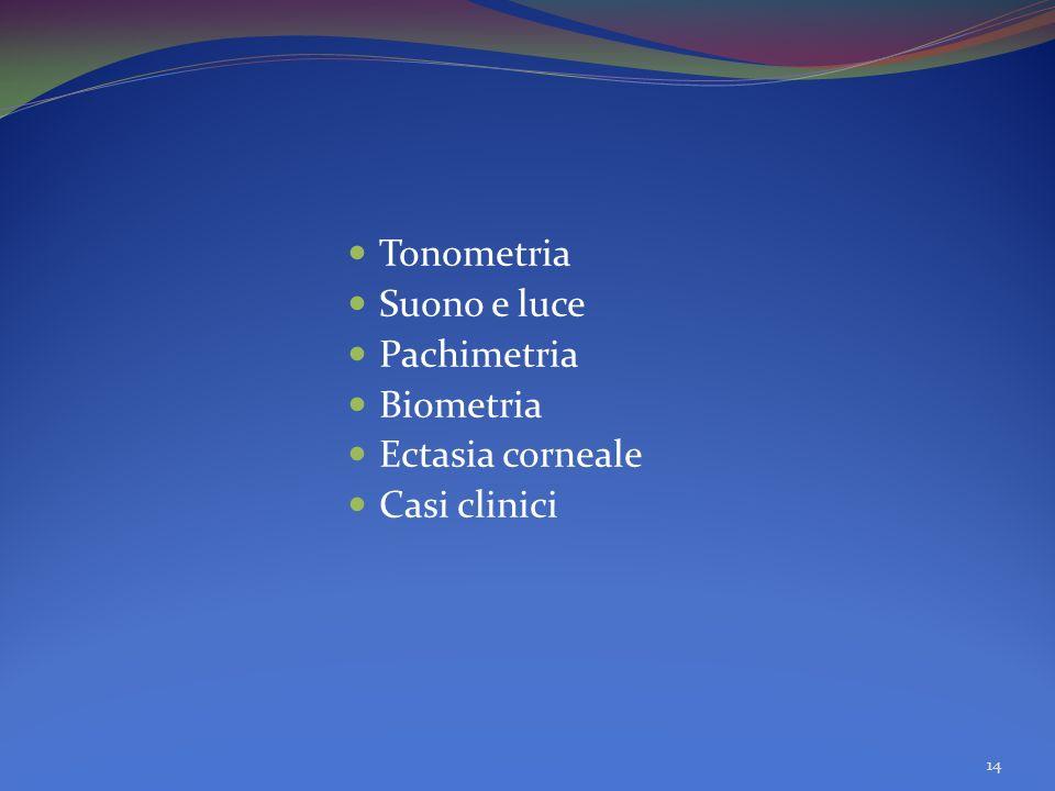 Tonometria Suono e luce Pachimetria Biometria Ectasia corneale Casi clinici 14