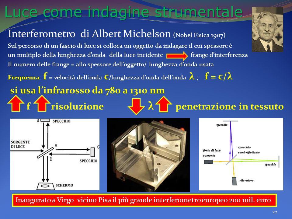 Luce come indagine strumentale Luce come indagine strumentale Interferometro di Albert Michelson (Nobel Fisica 1907) Sul percorso di un fascio di luce si colloca un oggetto da indagare il cui spessore è un multiplo della lunghezza donda della luce incidente frange dinterferenza Il numero delle frange = allo spessore delloggetto/ lunghezza donda usata Frequenza f = velocità dellonda c /lunghezza donda dellonda λ ; f = c/λ si usa linfrarosso da 780 a 1310 nm f risoluzione λ penetrazione in tessuto 22 Inaugurato a Virgo vicino Pisa il più grande interferometro europeo 200 mil.