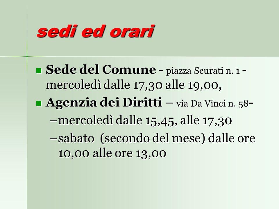 sedi ed orari Sede del Comune - piazza Scurati n.