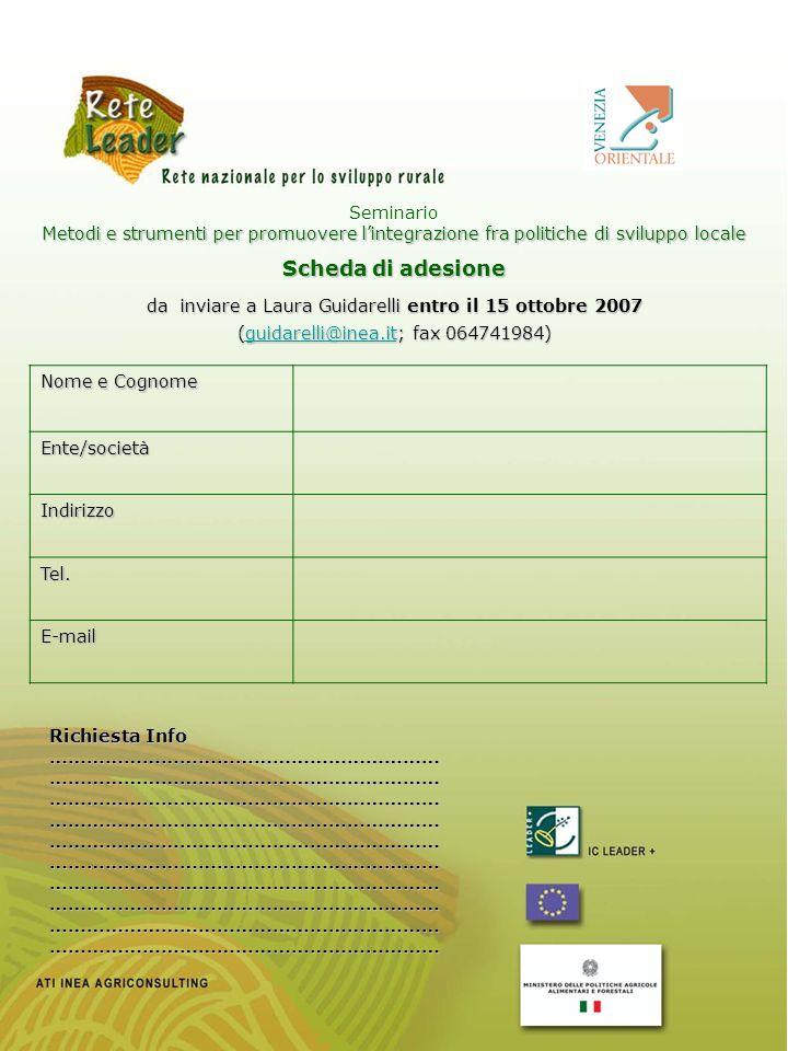 da inviare a Laura Guidarelli entro il 15 ottobre 2007 (guidarelli@inea.it; fax 064741984) guidarelli@inea.it Seminario Metodi e strumenti per promuov