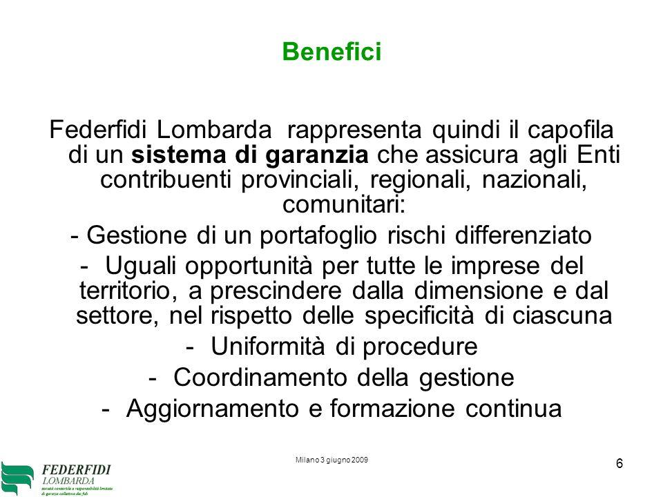 Milano 3 giugno 2009 6 Benefici Federfidi Lombarda rappresenta quindi il capofila di un sistema di garanzia che assicura agli Enti contribuenti provin