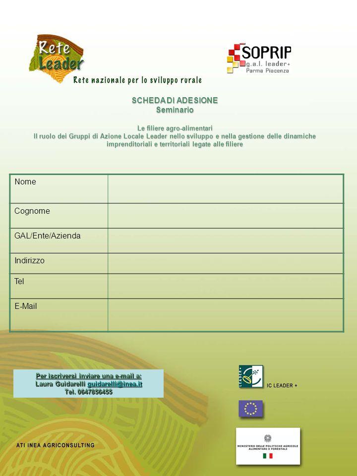 SCHEDA DI ADESIONE Seminario Le filiere agro-alimentari Il ruolo dei Gruppi di Azione Locale Leader nello sviluppo e nella gestione delle dinamiche im