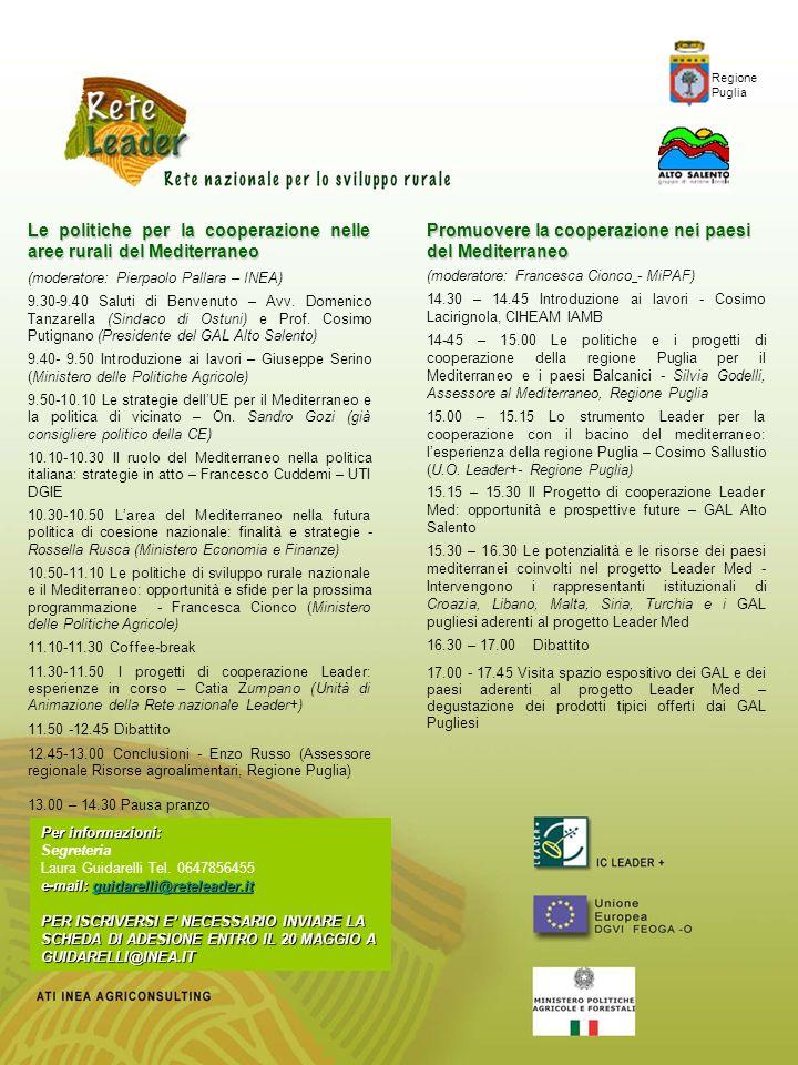 Le politiche per la cooperazione nelle aree rurali del Mediterraneo (moderatore: Pierpaolo Pallara – INEA) 9.30-9.40 Saluti di Benvenuto – Avv. Domeni