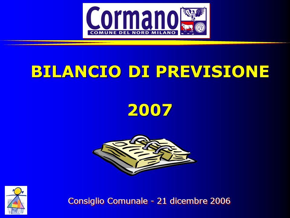 BILANCIO DI PREVISIONE 2007 Consiglio Comunale - 21 dicembre 2006