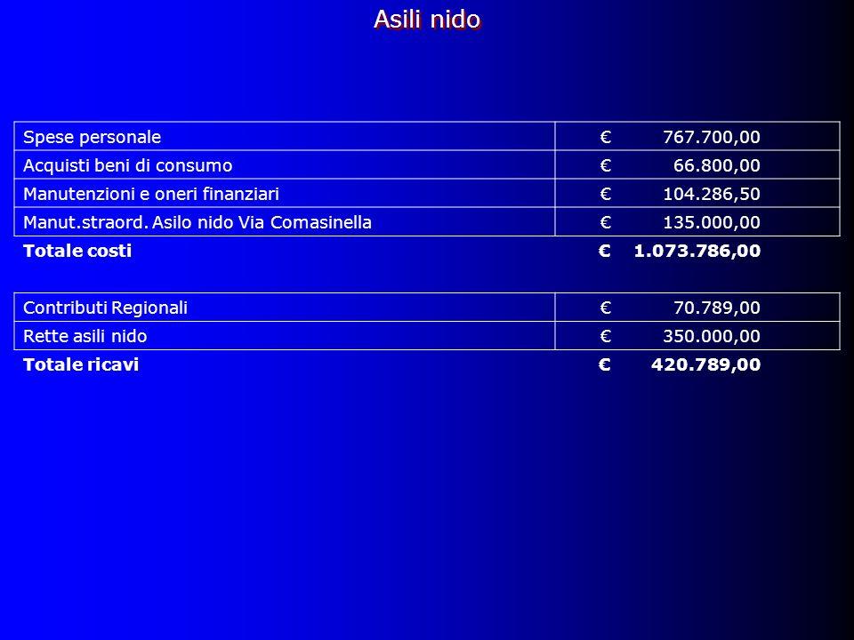 Asili nido Spese personale767.700,00 Acquisti beni di consumo66.800,00 Manutenzioni e oneri finanziari104.286,50 Manut.straord.