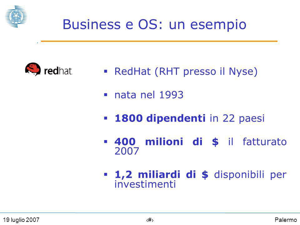 Palermo1119 luglio 2007 Business e OS: un esempio RedHat (RHT presso il Nyse) nata nel 1993 1800 dipendenti in 22 paesi 400 milioni di $ il fatturato 2007 1,2 miliardi di $ disponibili per investimenti