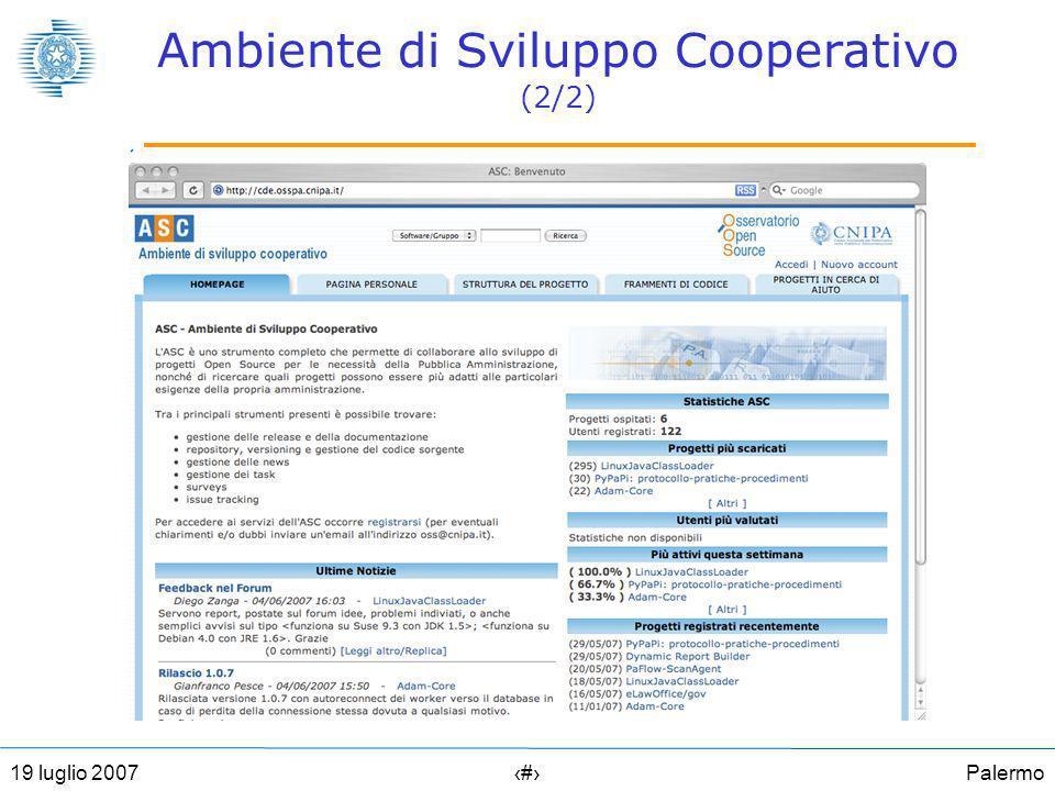 Palermo2219 luglio 2007 Ambiente di Sviluppo Cooperativo (2/2)