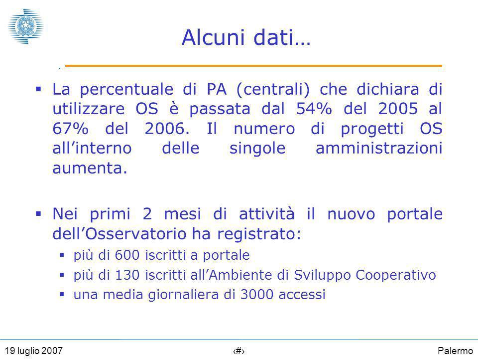 Palermo2419 luglio 2007 Alcuni dati… La percentuale di PA (centrali) che dichiara di utilizzare OS è passata dal 54% del 2005 al 67% del 2006.