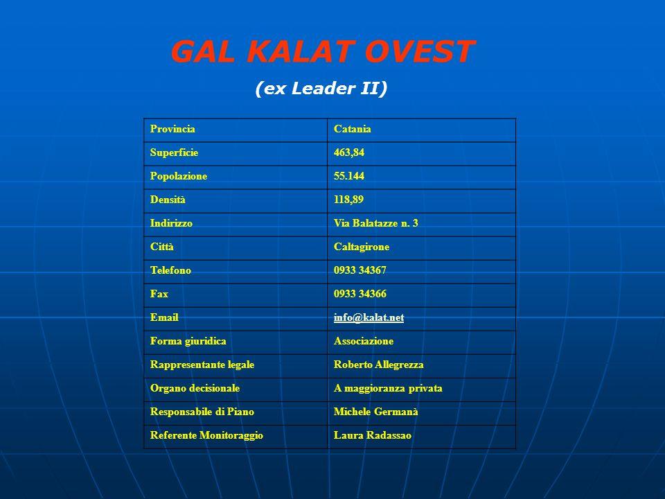 GAL KALAT OVEST (ex Leader II) ProvinciaCatania Superficie463,84 Popolazione55.144 Densità118,89 IndirizzoVia Balatazze n. 3 CittàCaltagirone Telefono