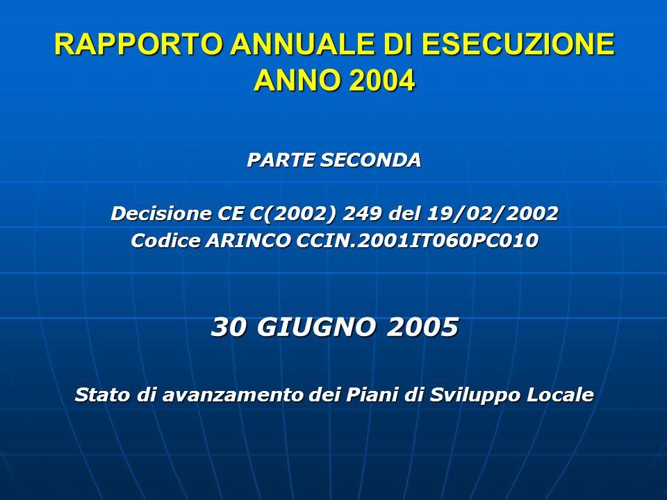 RAPPORTO ANNUALE DI ESECUZIONE ANNO 2004 PARTE SECONDA Decisione CE C(2002) 249 del 19/02/2002 Codice ARINCO CCIN.2001IT060PC010 30 GIUGNO 2005 Stato