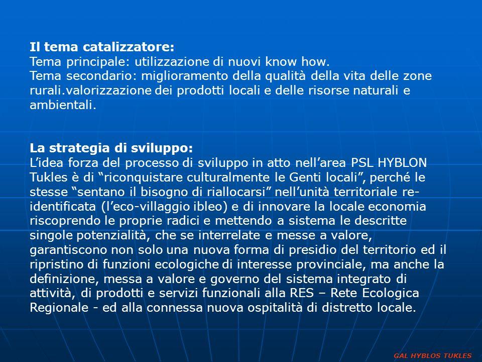 Il tema catalizzatore: Tema principale: utilizzazione di nuovi know how. Tema secondario: miglioramento della qualità della vita delle zone rurali.val