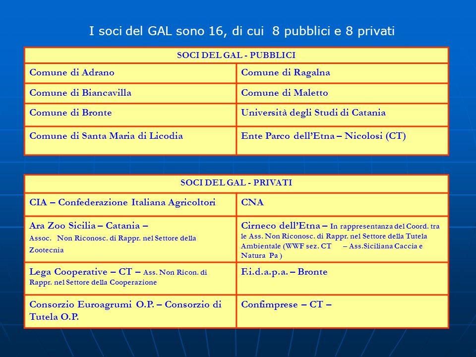 I soci del GAL sono 16, di cui 8 pubblici e 8 privati SOCI DEL GAL - PUBBLICI Comune di AdranoComune di Ragalna Comune di BiancavillaComune di Maletto