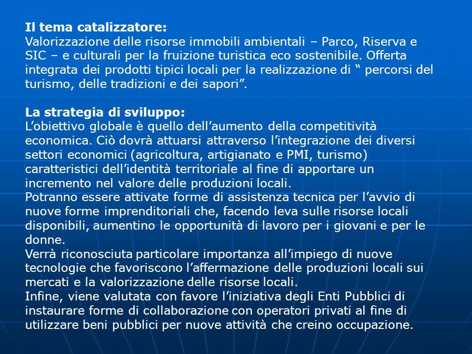 Il tema catalizzatore: Valorizzazione delle risorse immobili ambientali – Parco, Riserva e SIC – e culturali per la fruizione turistica eco sostenibil