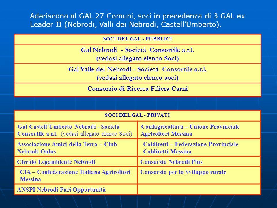 SOCI DEL GAL - PUBBLICI Gal Nebrodi - Società Consortile a.r.l. (vedasi allegato elenco Soci) Gal Valle dei Nebrodi - Società Consortile a.r.l. (vedas