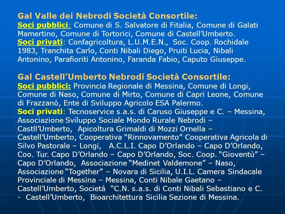 Gal Valle dei Nebrodi Società Consortile: Soci pubblici: Comune di S. Salvatore di Fitalia, Comune di Galati Mamertino, Comune di Tortorici, Comune di