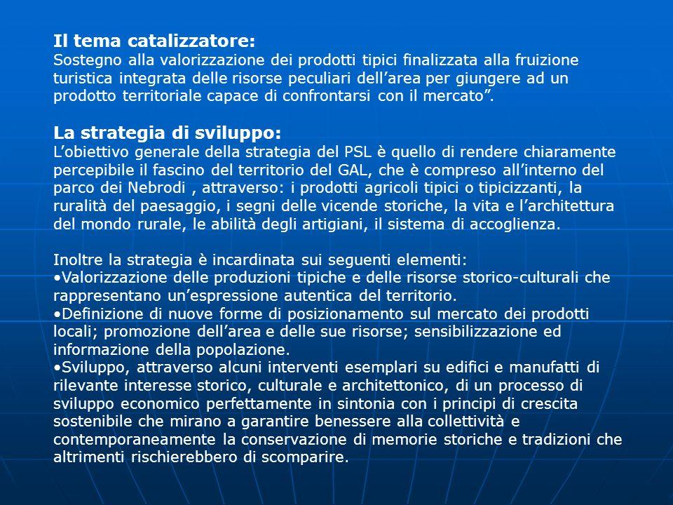 Il tema catalizzatore: Sostegno alla valorizzazione dei prodotti tipici finalizzata alla fruizione turistica integrata delle risorse peculiari dellare