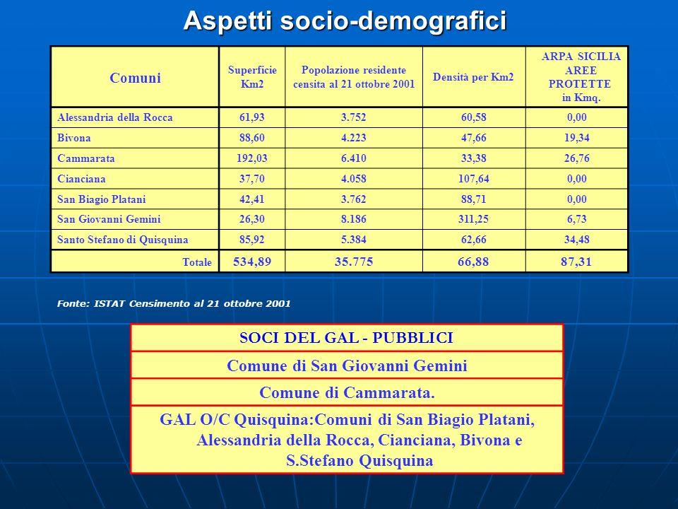 Aspetti socio-demografici Fonte: ISTAT Censimento al 21 ottobre 2001 SOCI DEL GAL - PUBBLICI Comune di San Giovanni Gemini Comune di Cammarata. GAL O/