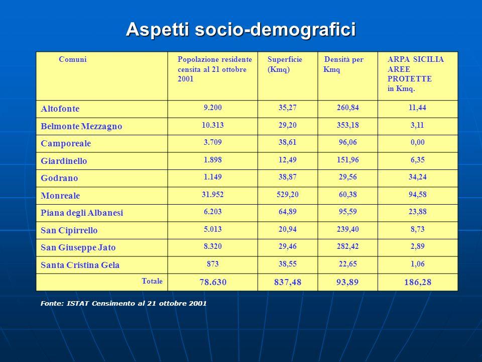 Aspetti socio-demografici Fonte: ISTAT Censimento al 21 ottobre 2001 ComuniPopolazione residente censita al 21 ottobre 2001 Superficie (Kmq) Densità p