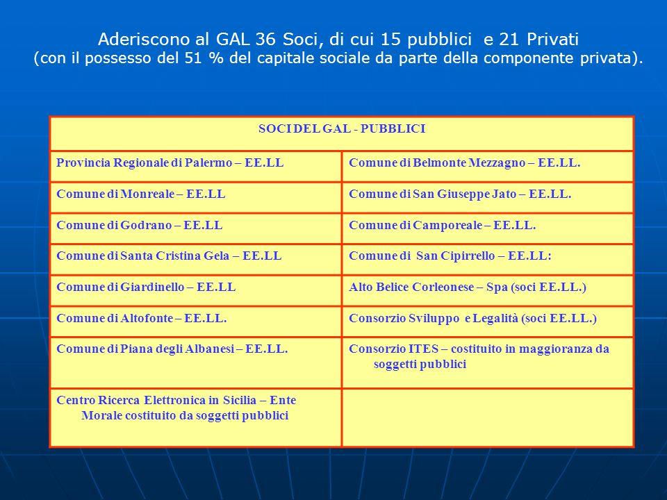 Aderiscono al GAL 36 Soci, di cui 15 pubblici e 21 Privati (con il possesso del 51 % del capitale sociale da parte della componente privata). SOCI DEL