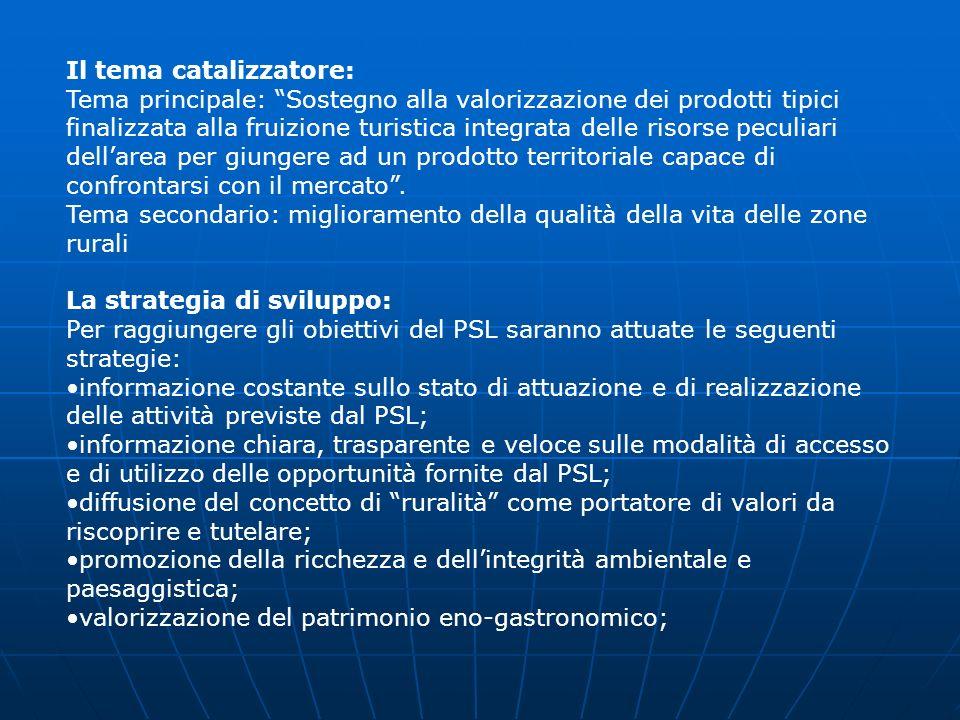 Il tema catalizzatore: Tema principale: Sostegno alla valorizzazione dei prodotti tipici finalizzata alla fruizione turistica integrata delle risorse