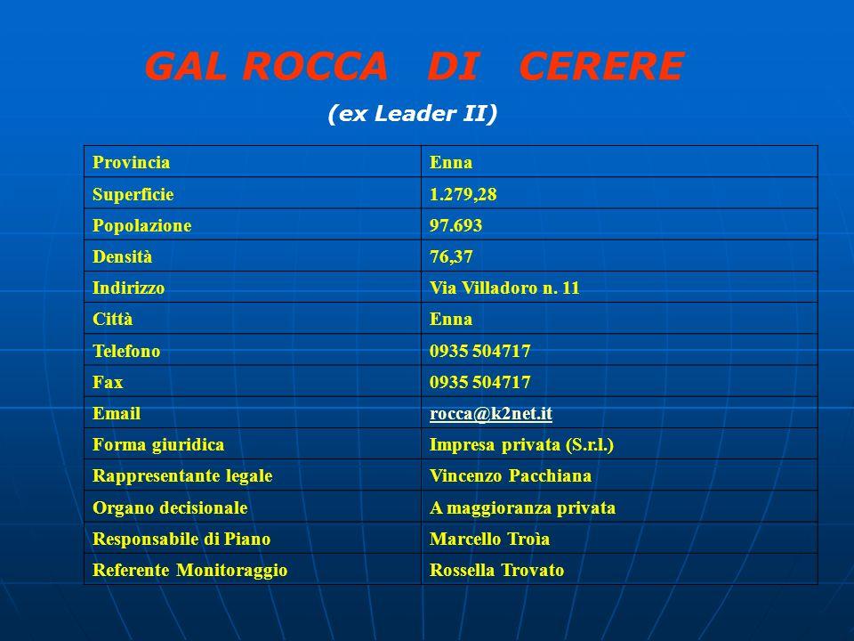 GAL ROCCA DI CERERE (ex Leader II) ProvinciaEnna Superficie1.279,28 Popolazione97.693 Densità76,37 IndirizzoVia Villadoro n. 11 CittàEnna Telefono0935