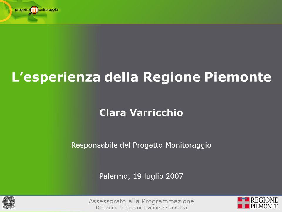 Assessorato alla Programmazione Direzione Programmazione e Statistica Lesperienza della Regione Piemonte Clara Varricchio Responsabile del Progetto Monitoraggio Palermo, 19 luglio 2007