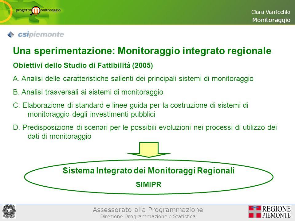 Assessorato alla Programmazione Direzione Programmazione e Statistica Clara Varricchio Una sperimentazione: Monitoraggio integrato regionale Obiettivi dello Studio di Fattibilità (2005) A.
