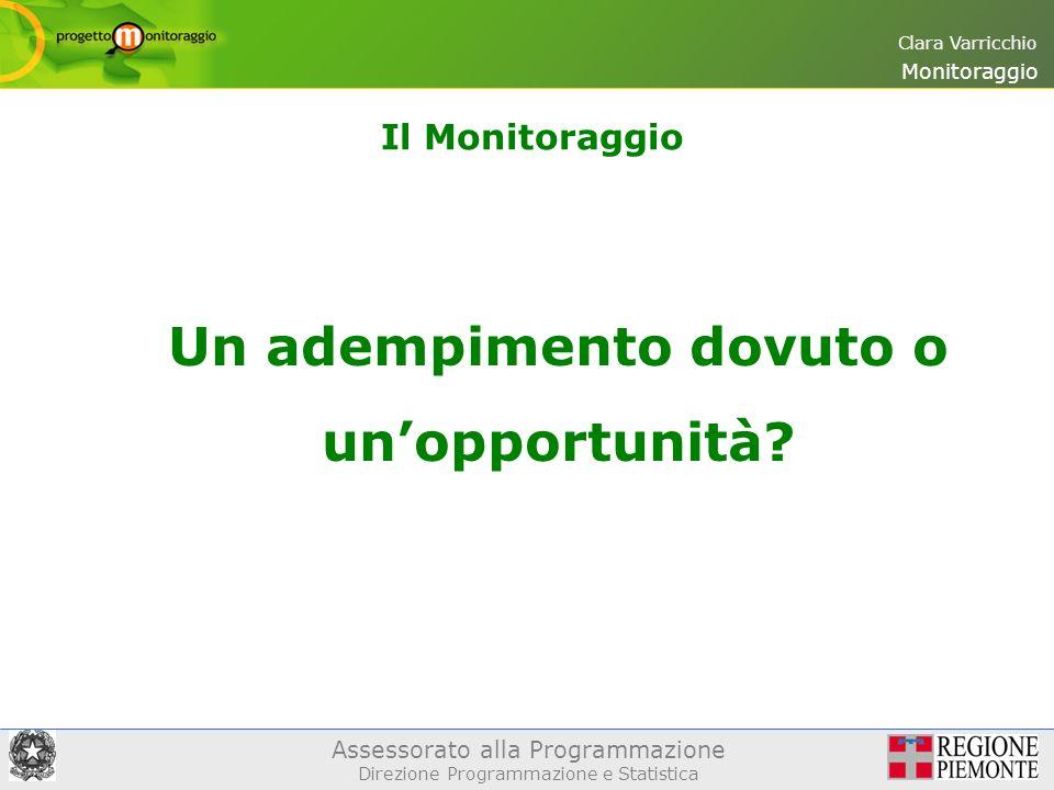 Assessorato alla Programmazione Direzione Programmazione e Statistica Clara Varricchio Il Monitoraggio Monitoraggio Un adempimento dovuto o unopportunità