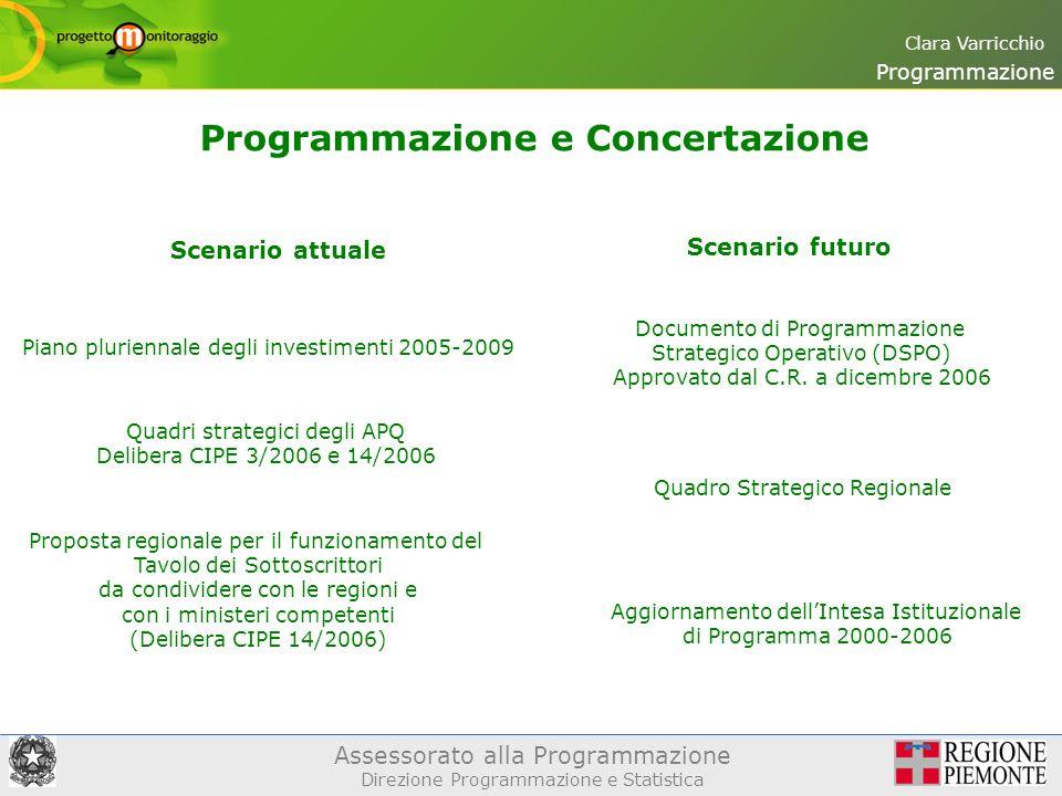 Assessorato alla Programmazione Direzione Programmazione e Statistica Clara Varricchio Programmazione e Concertazione Programmazione Quadri strategici degli APQ Delibera CIPE 3/2006 e 14/2006 Documento di Programmazione Strategico Operativo (DSPO) Approvato dal C.R.