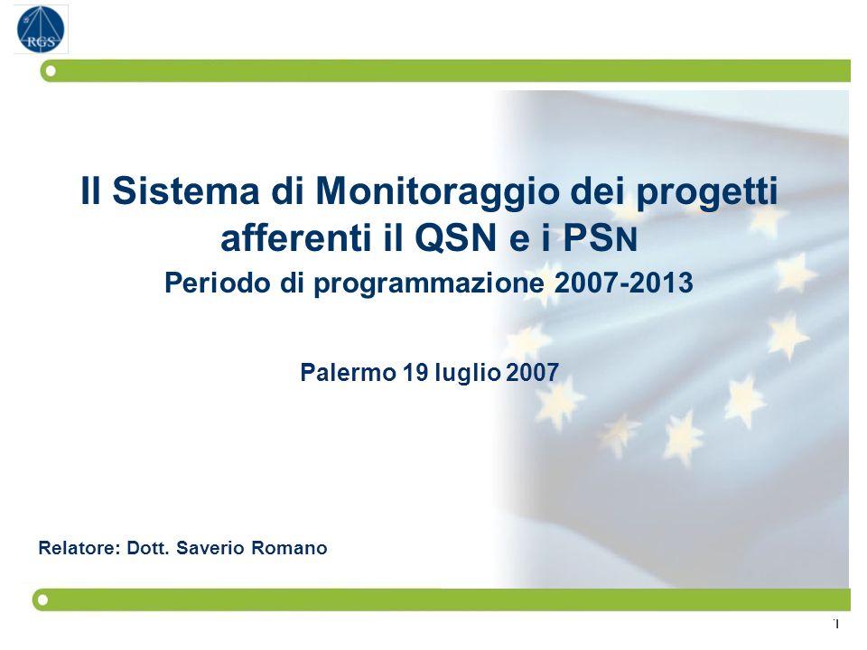 1 Il Sistema di Monitoraggio dei progetti afferenti il QSN e i PS N Periodo di programmazione 2007-2013 Palermo 19 luglio 2007 Relatore: Dott. Saverio