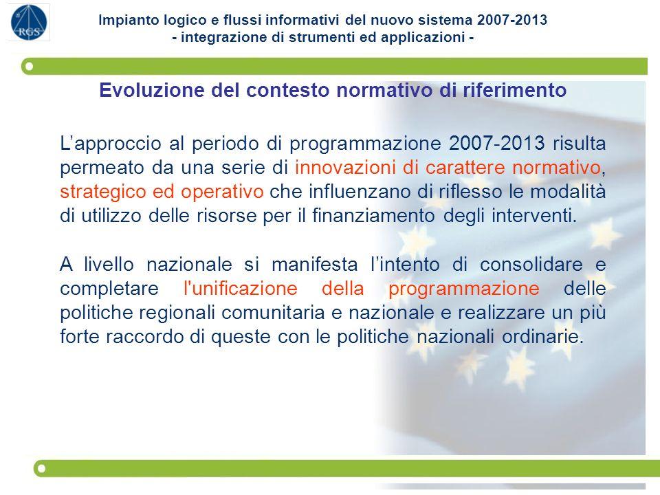 2 Evoluzione del contesto normativo di riferimento Lapproccio al periodo di programmazione 2007-2013 risulta permeato da una serie di innovazioni di c