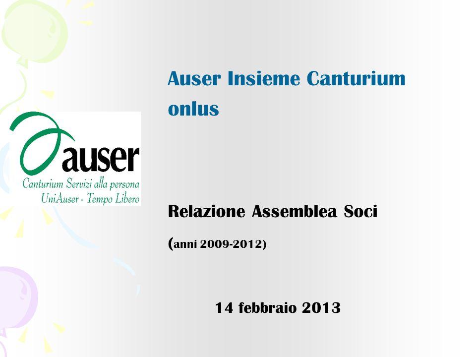 Auser Insieme Canturium onlus Relazione Assemblea Soci ( anni 2009-2012) 14 febbraio 2013