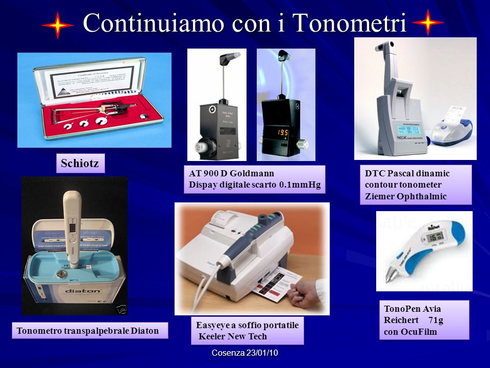 Continuiamo con i Tonometri Cosenza 23/01/10 Schiotz AT 900 D Goldmann Dispay digitale scarto 0.1mmHg AT 900 D Goldmann Dispay digitale scarto 0.1mmHg